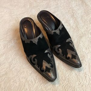 Donald J. Pliner western couture leather mules